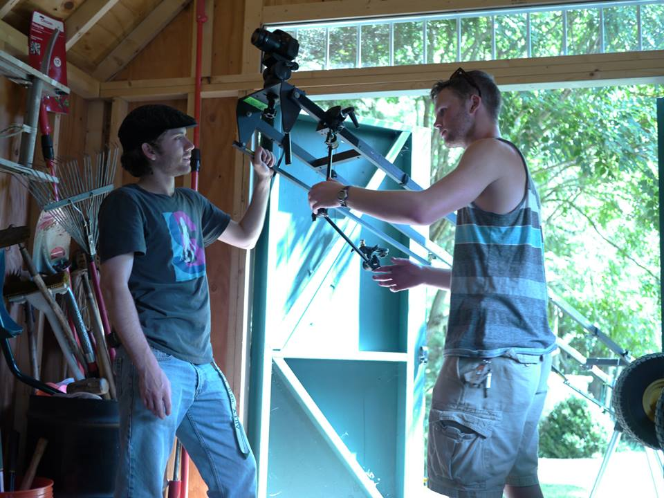 Justin and Aaron setting up our Kessler crane on the set of Genre Wars: Resistance Rising.